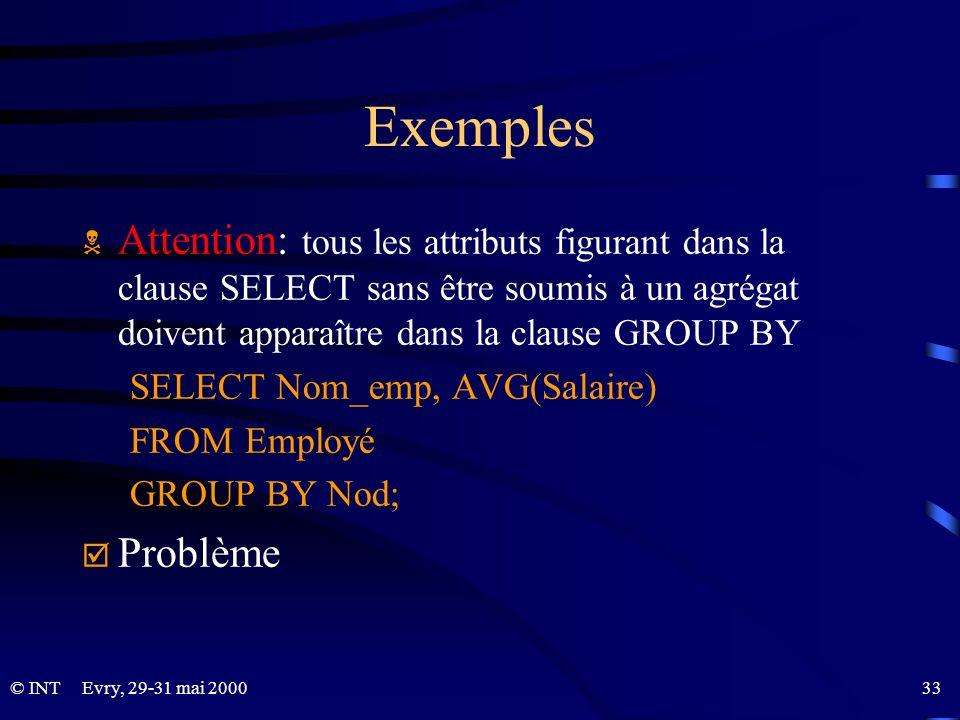 Exemples Attention: tous les attributs figurant dans la clause SELECT sans être soumis à un agrégat doivent apparaître dans la clause GROUP BY.