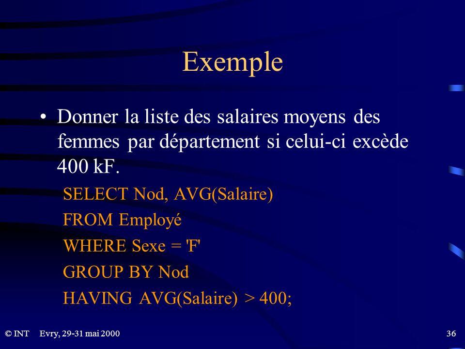 ExempleDonner la liste des salaires moyens des femmes par département si celui-ci excède 400 kF. SELECT Nod, AVG(Salaire)