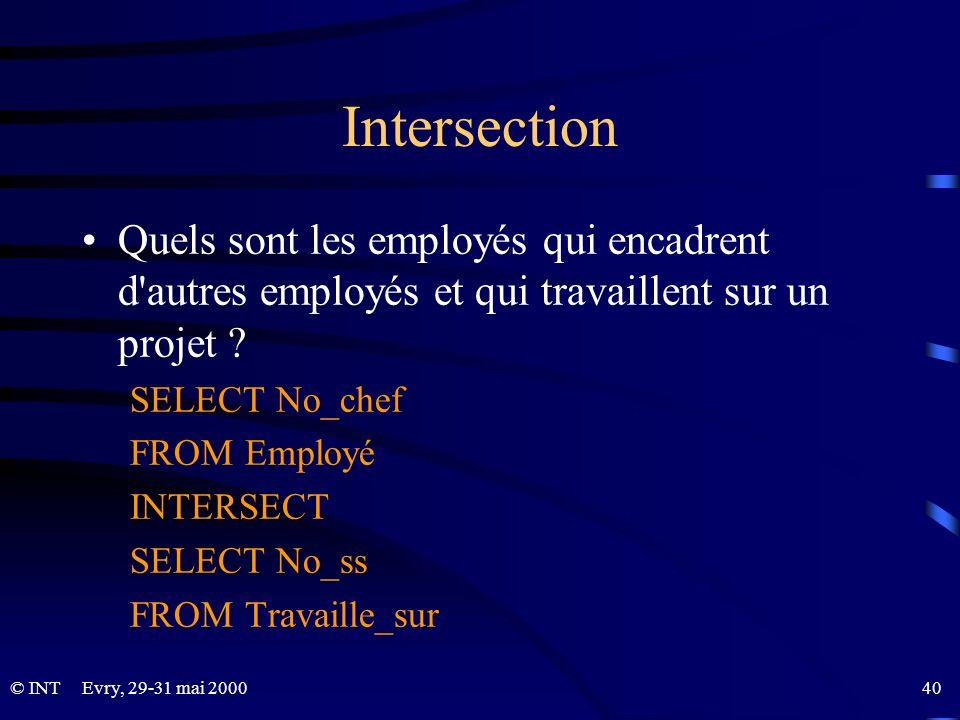 Intersection Quels sont les employés qui encadrent d autres employés et qui travaillent sur un projet