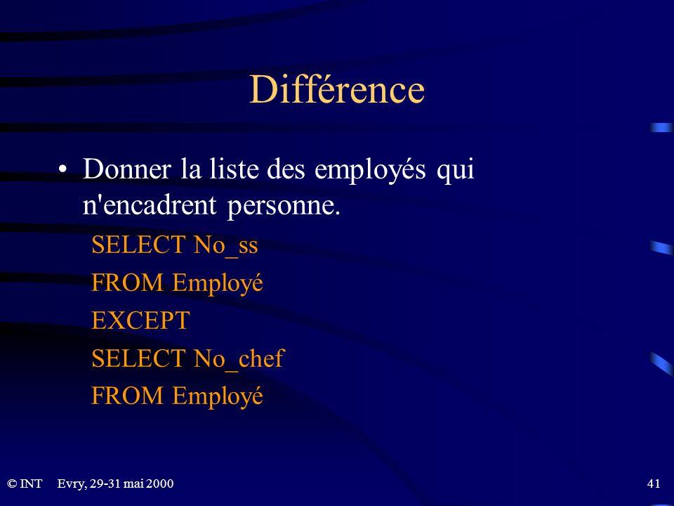 Différence Donner la liste des employés qui n encadrent personne.