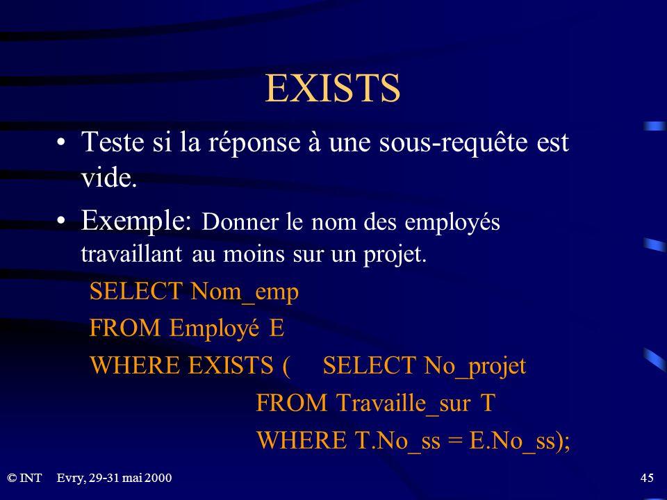 EXISTS Teste si la réponse à une sous-requête est vide.