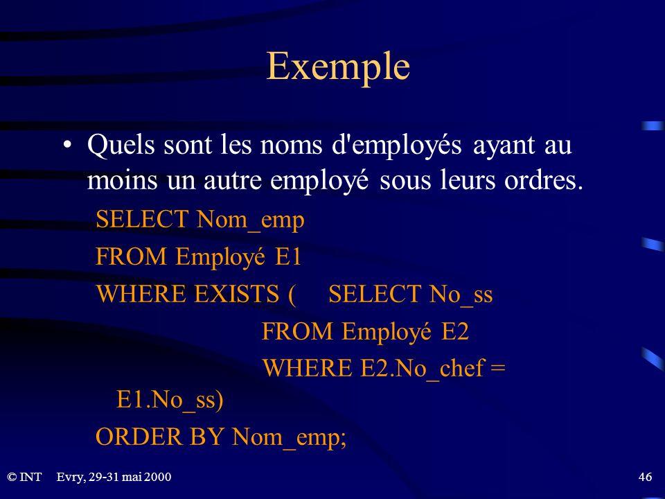 Exemple Quels sont les noms d employés ayant au moins un autre employé sous leurs ordres. SELECT Nom_emp.