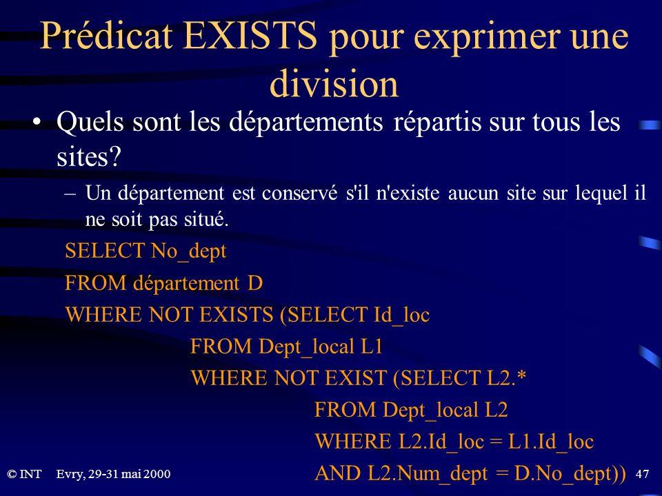 Prédicat EXISTS pour exprimer une division