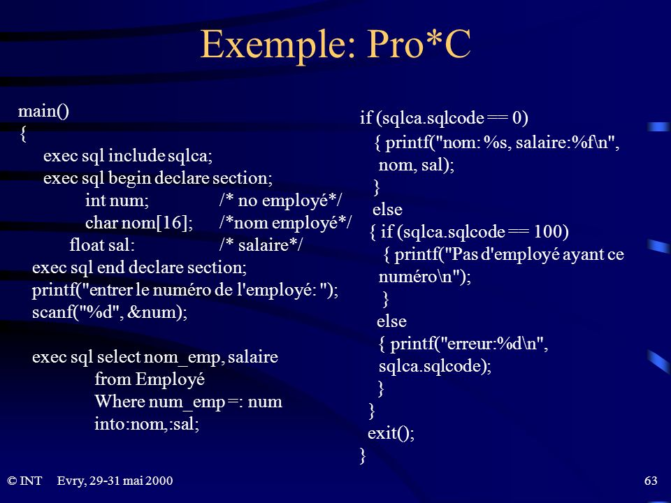 Exemple: Pro*C if (sqlca.sqlcode == 0) main() {
