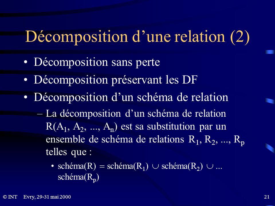 Décomposition d'une relation (2)