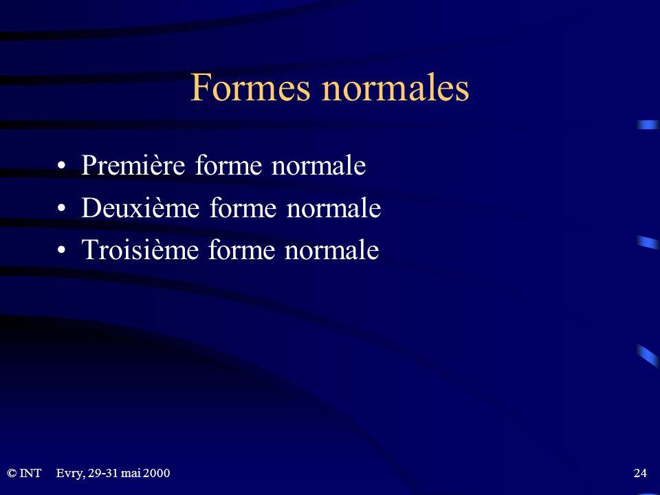 Formes normales Première forme normale Deuxième forme normale