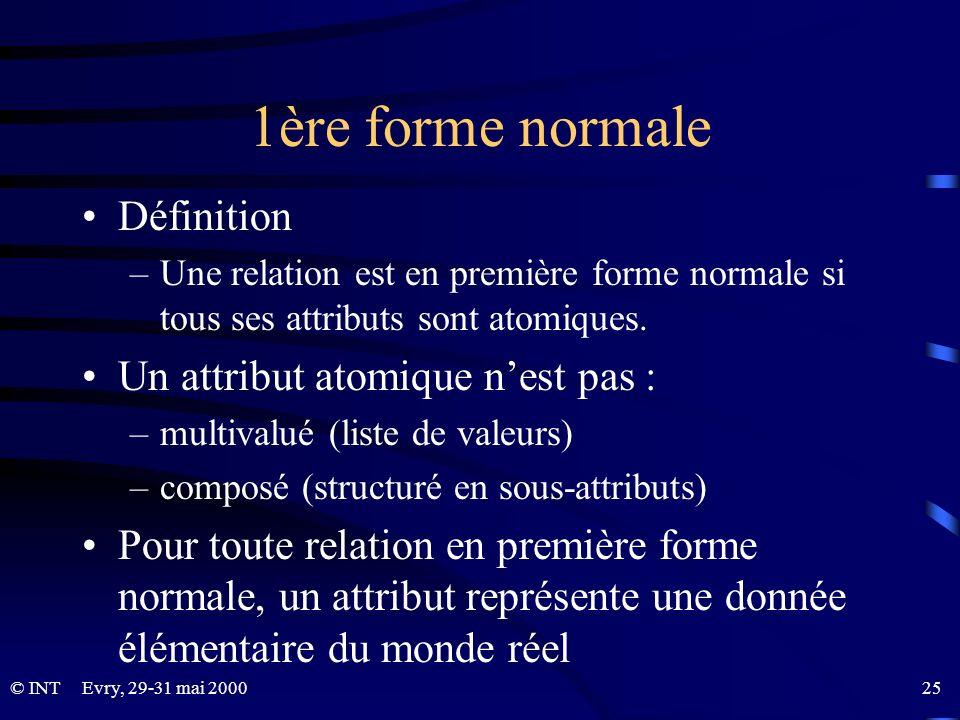 1ère forme normale Définition Un attribut atomique n'est pas :