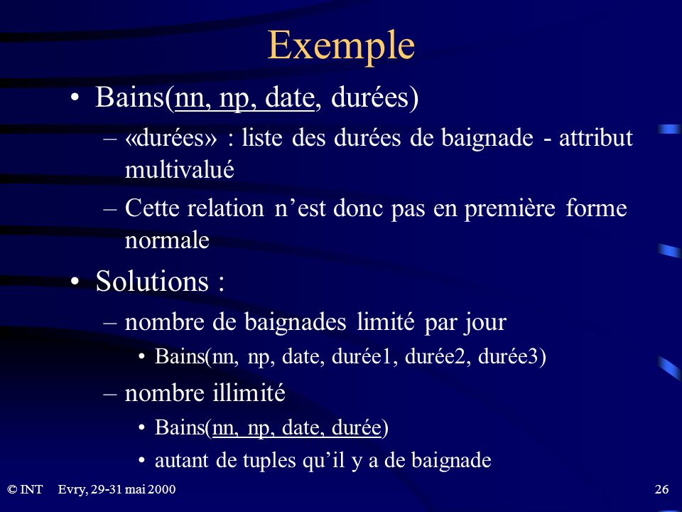 Exemple Bains(nn, np, date, durées) Solutions :