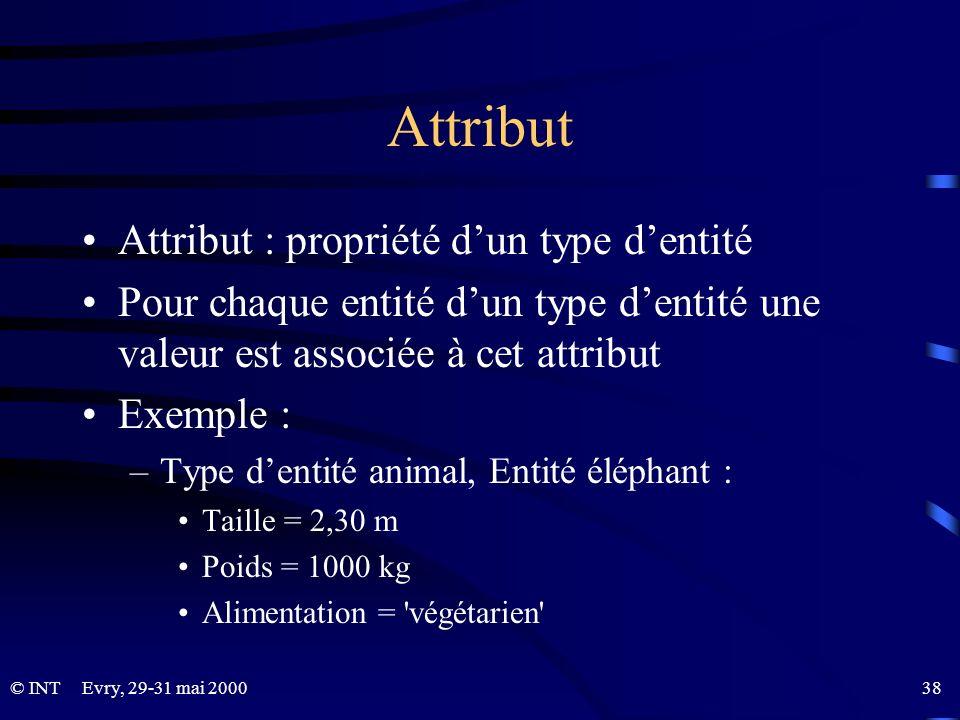 Attribut Attribut : propriété d'un type d'entité