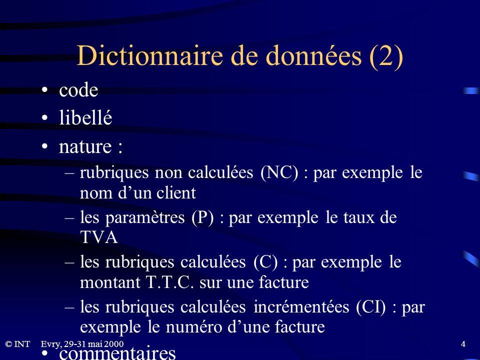 Dictionnaire de données (2)