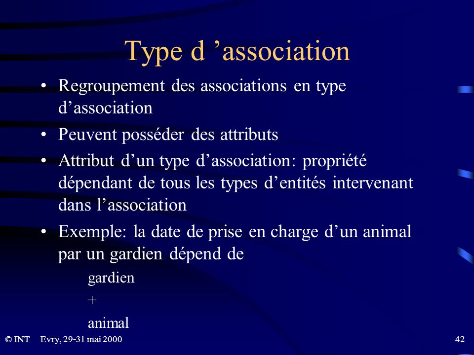 Type d 'association Regroupement des associations en type d'association. Peuvent posséder des attributs.