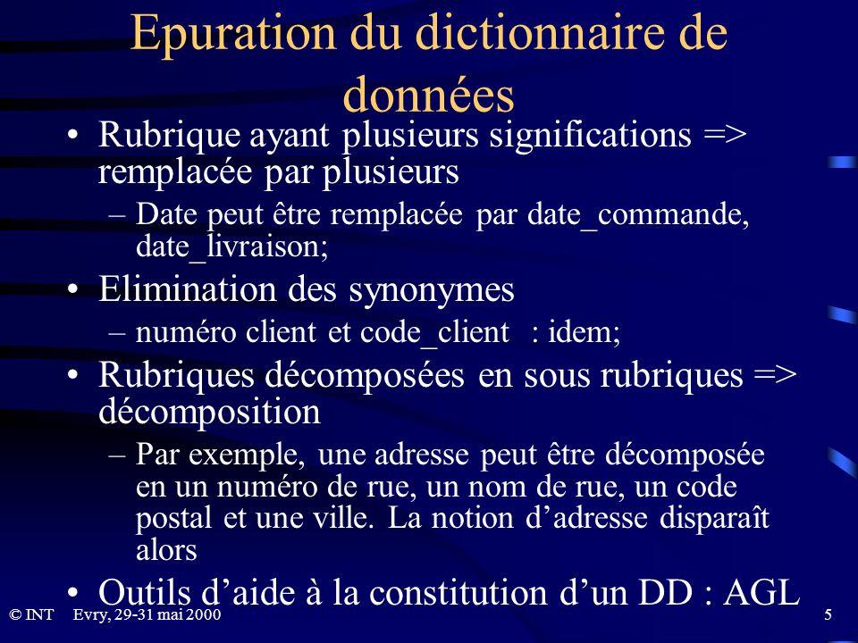 Epuration du dictionnaire de données
