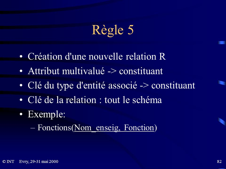 Règle 5 Création d une nouvelle relation R