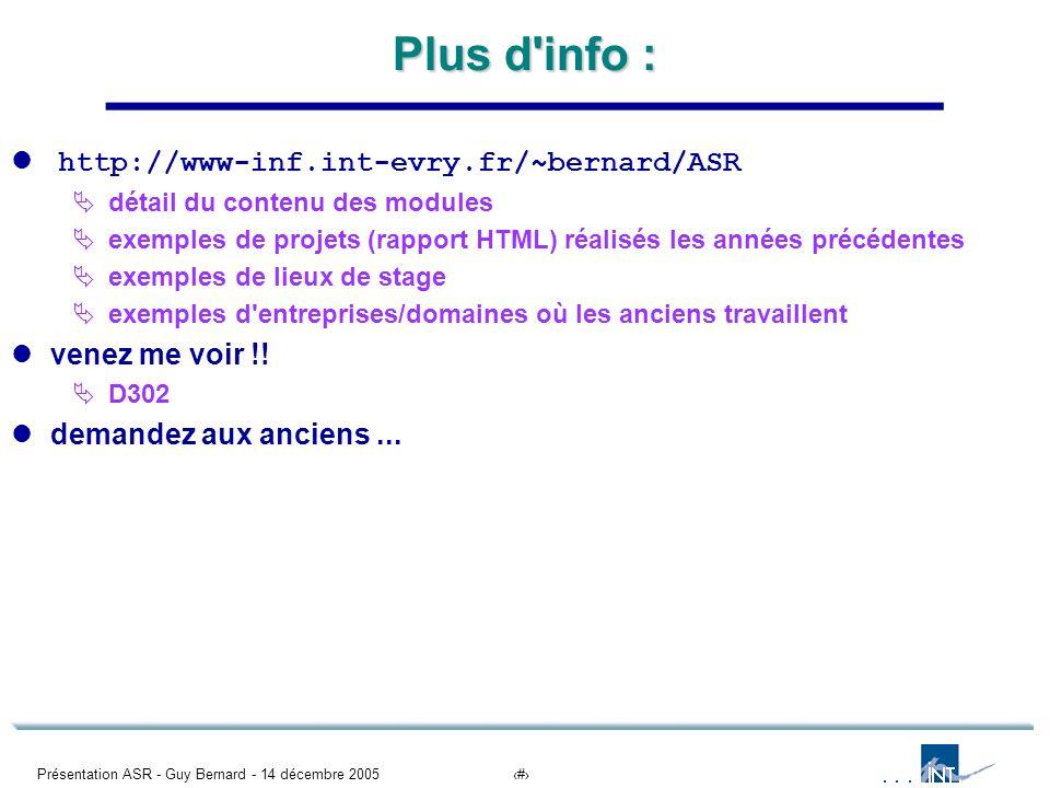 Plus d info : http://www-inf.int-evry.fr/~bernard/ASR venez me voir !!