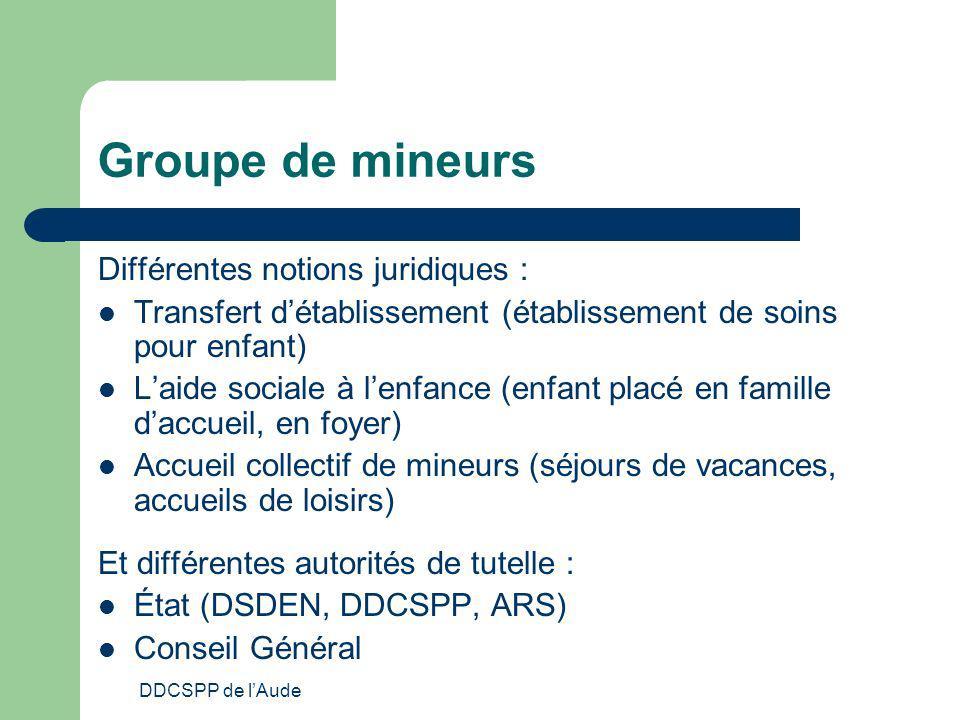 Groupe de mineurs Différentes notions juridiques :