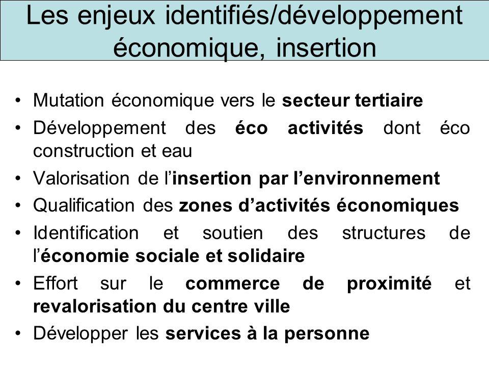 Les enjeux identifiés/développement économique, insertion
