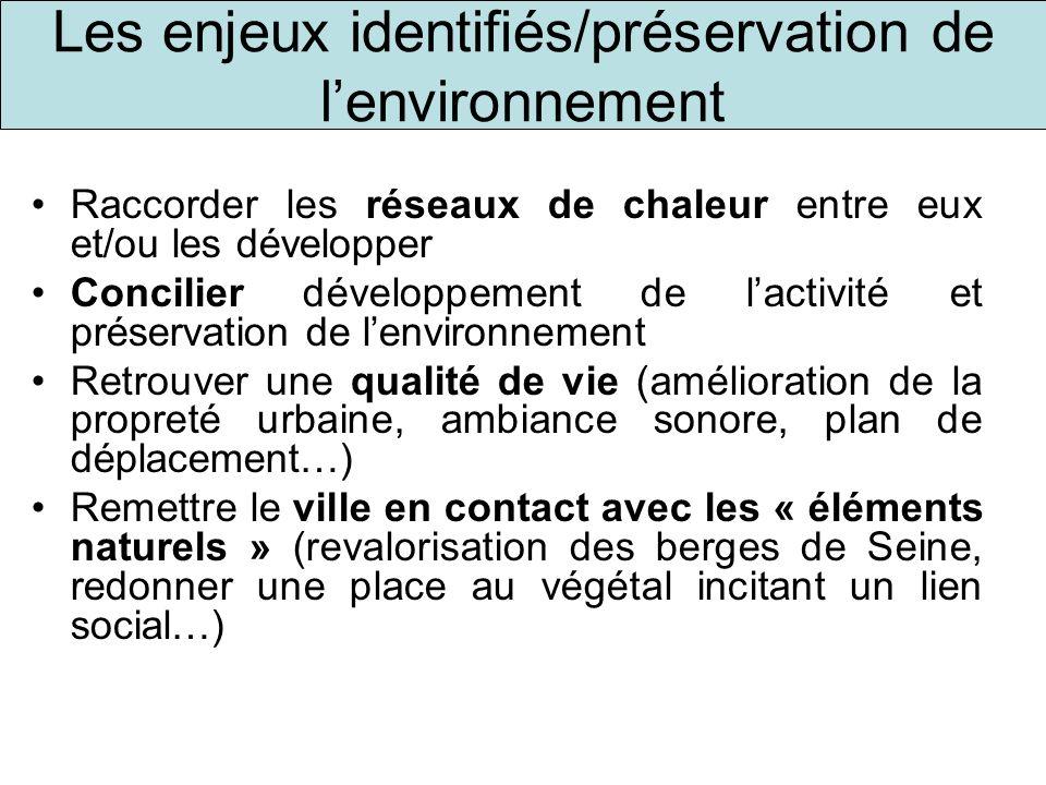 Les enjeux identifiés/préservation de l'environnement