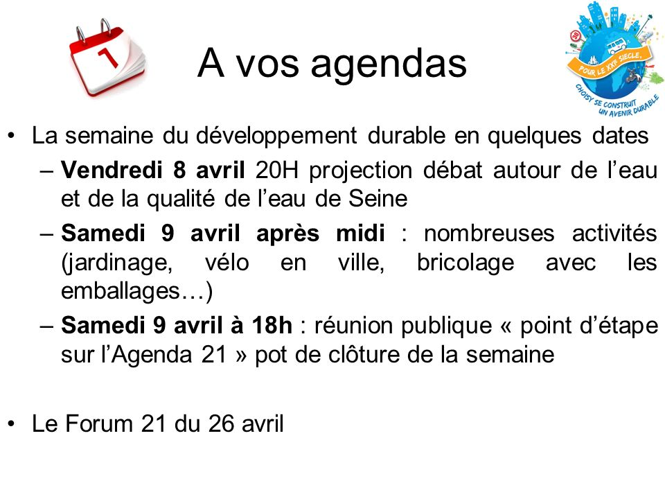 A vos agendas La semaine du développement durable en quelques dates