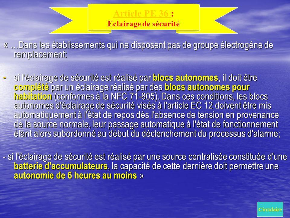 Article PE 36 : Eclairage de sécurité. « …Dans les établissements qui ne disposent pas de groupe électrogène de remplacement: