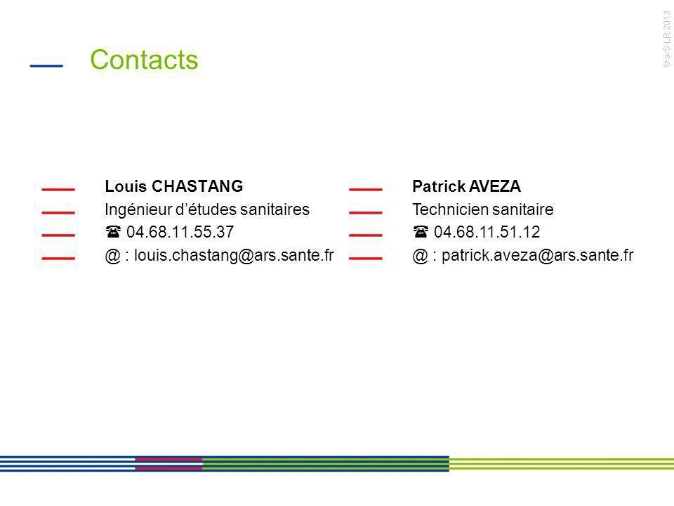 Contacts Louis CHASTANG Ingénieur d'études sanitaires  04.68.11.55.37