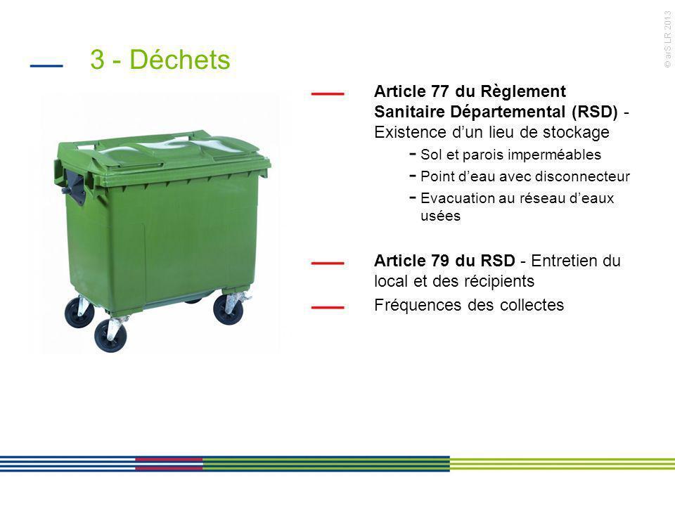 3 - Déchets Article 77 du Règlement Sanitaire Départemental (RSD) - Existence d'un lieu de stockage.