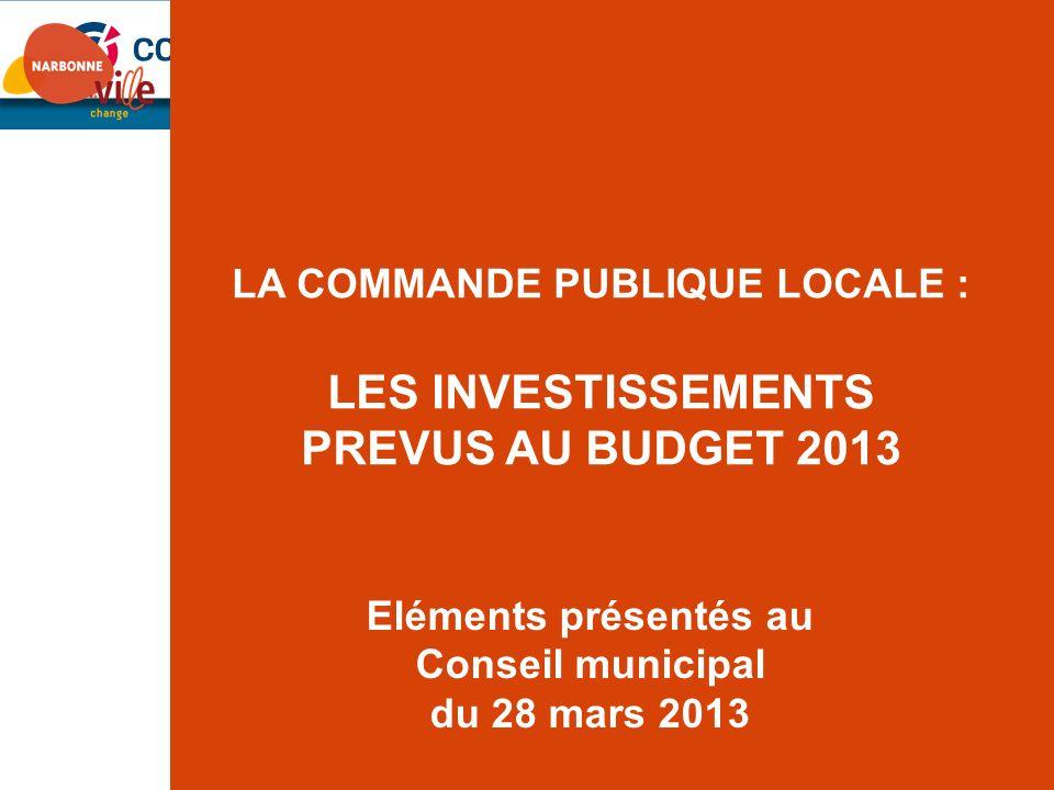 LES INVESTISSEMENTS PREVUS AU BUDGET 2013