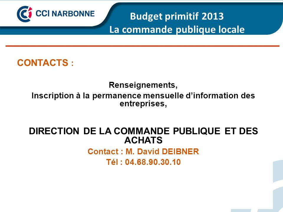 Budget primitif 2013 La commande publique locale