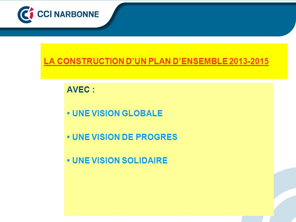 LA CONSTRUCTION D'UN PLAN D'ENSEMBLE 2013-2015