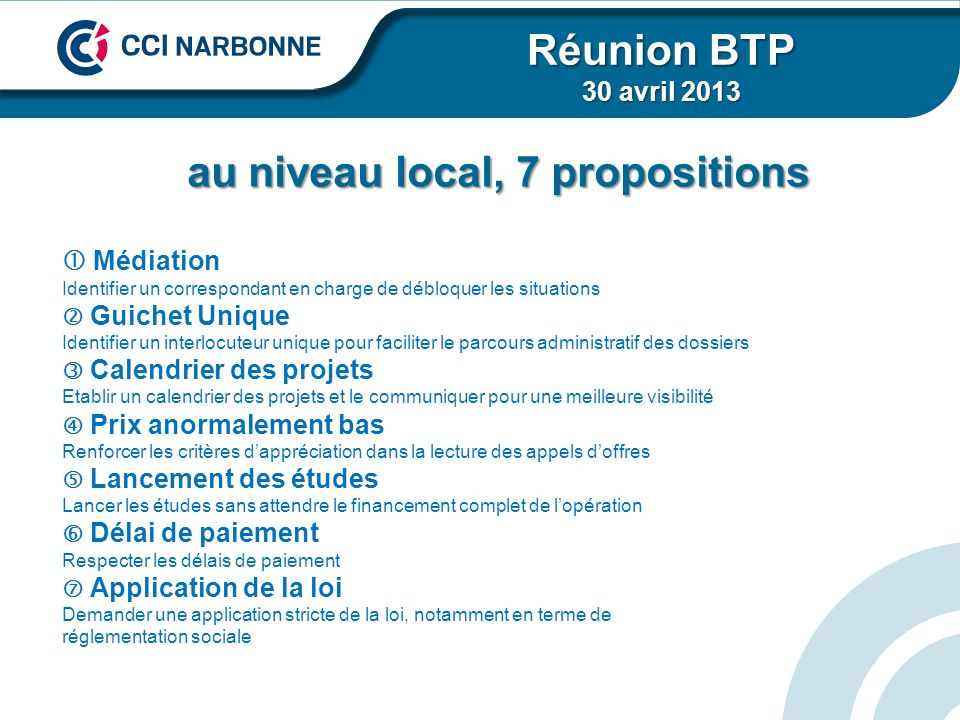 au niveau local, 7 propositions