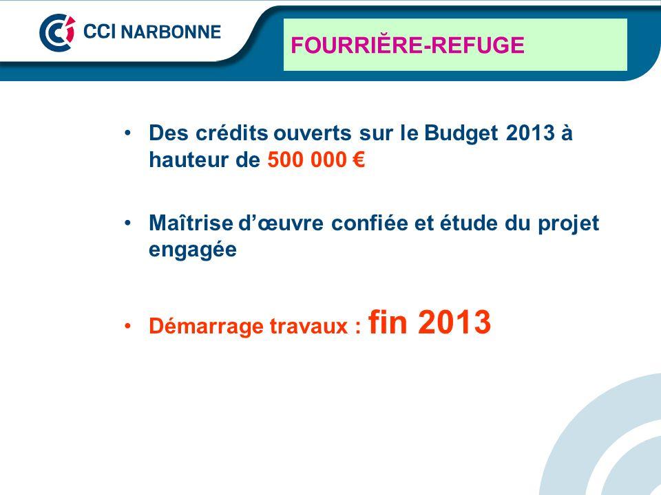FOURRIĔRE-REFUGE Des crédits ouverts sur le Budget 2013 à hauteur de 500 000 € Maîtrise d'œuvre confiée et étude du projet engagée.