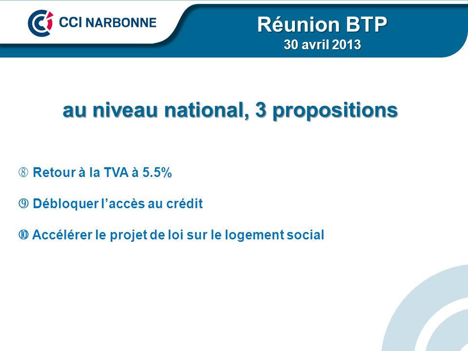 au niveau national, 3 propositions