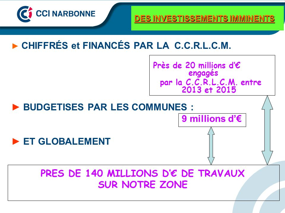 DES INVESTISSEMENTS IMMINENTS