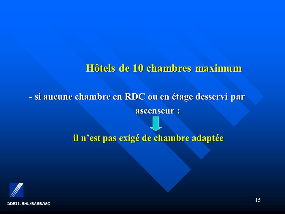 Hôtels de 10 chambres maximum il n'est pas exigé de chambre adaptée