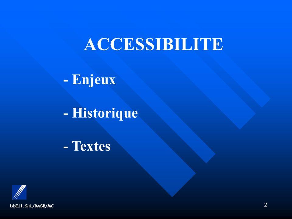 ACCESSIBILITE - Enjeux - Historique - Textes DDE11.SHL/BASB/MC