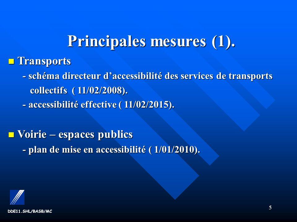 Principales mesures (1).