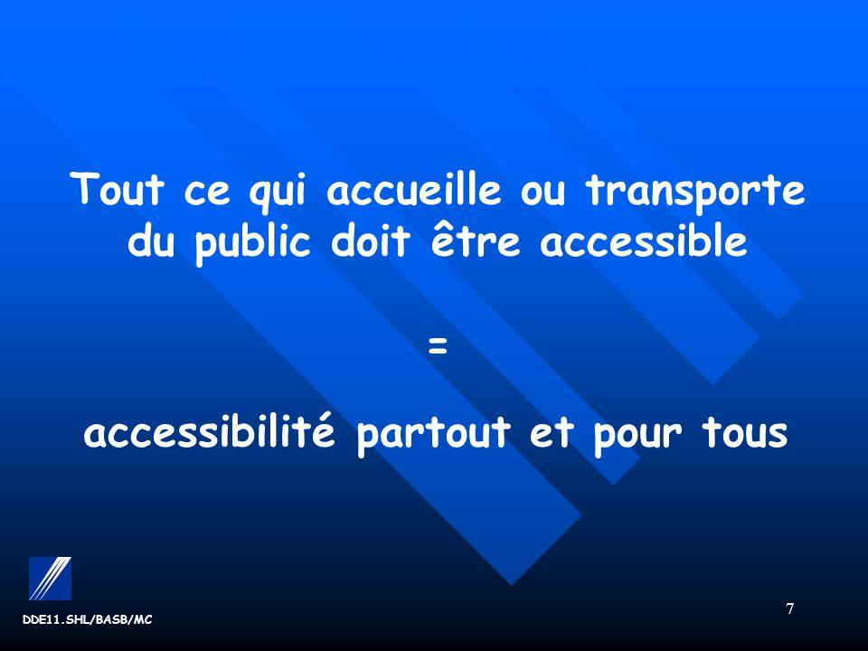 Tout ce qui accueille ou transporte du public doit être accessible = accessibilité partout et pour tous