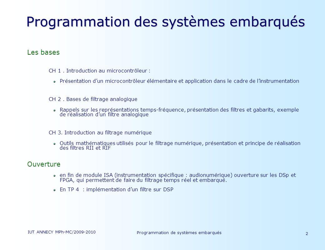 Programmation des systèmes embarqués