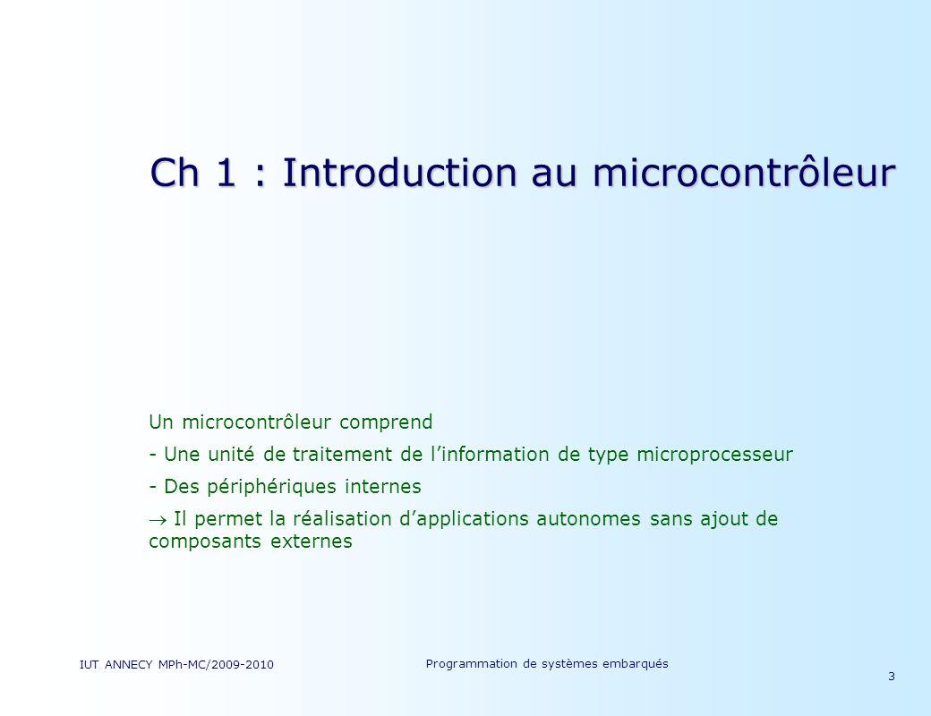 Ch 1 : Introduction au microcontrôleur