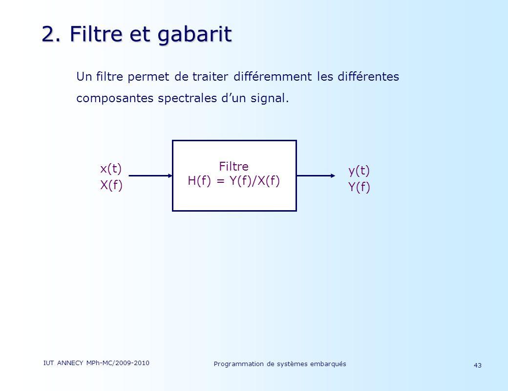 2. Filtre et gabarit Un filtre permet de traiter différemment les différentes composantes spectrales d'un signal.