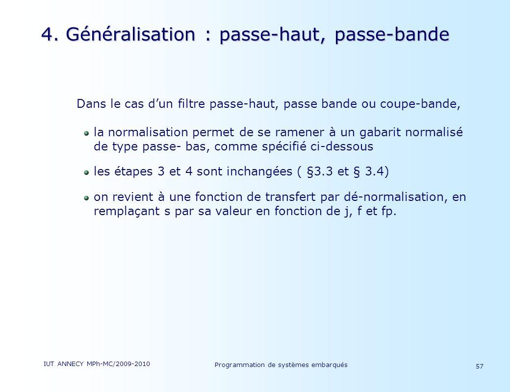 4. Généralisation : passe-haut, passe-bande
