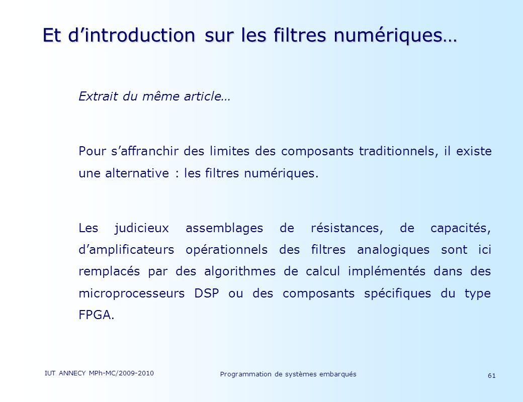 Et d'introduction sur les filtres numériques…