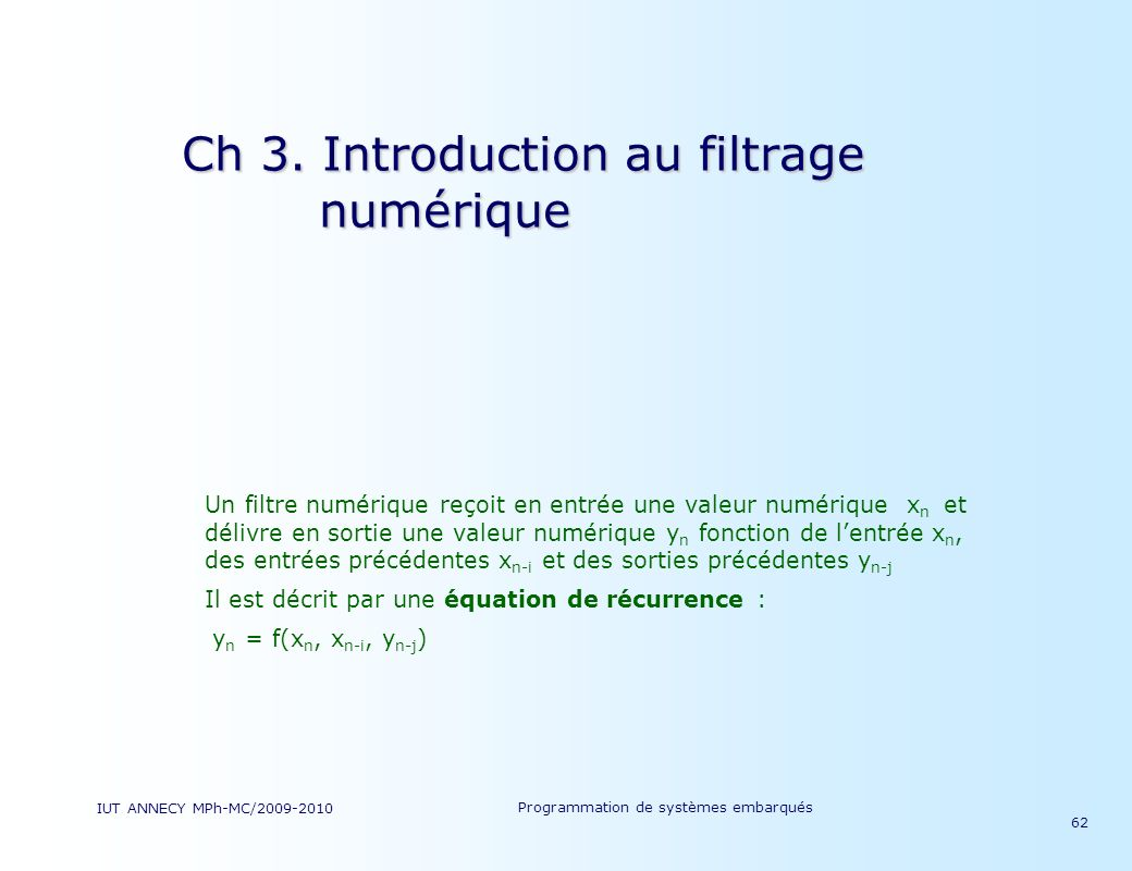 Ch 3. Introduction au filtrage numérique