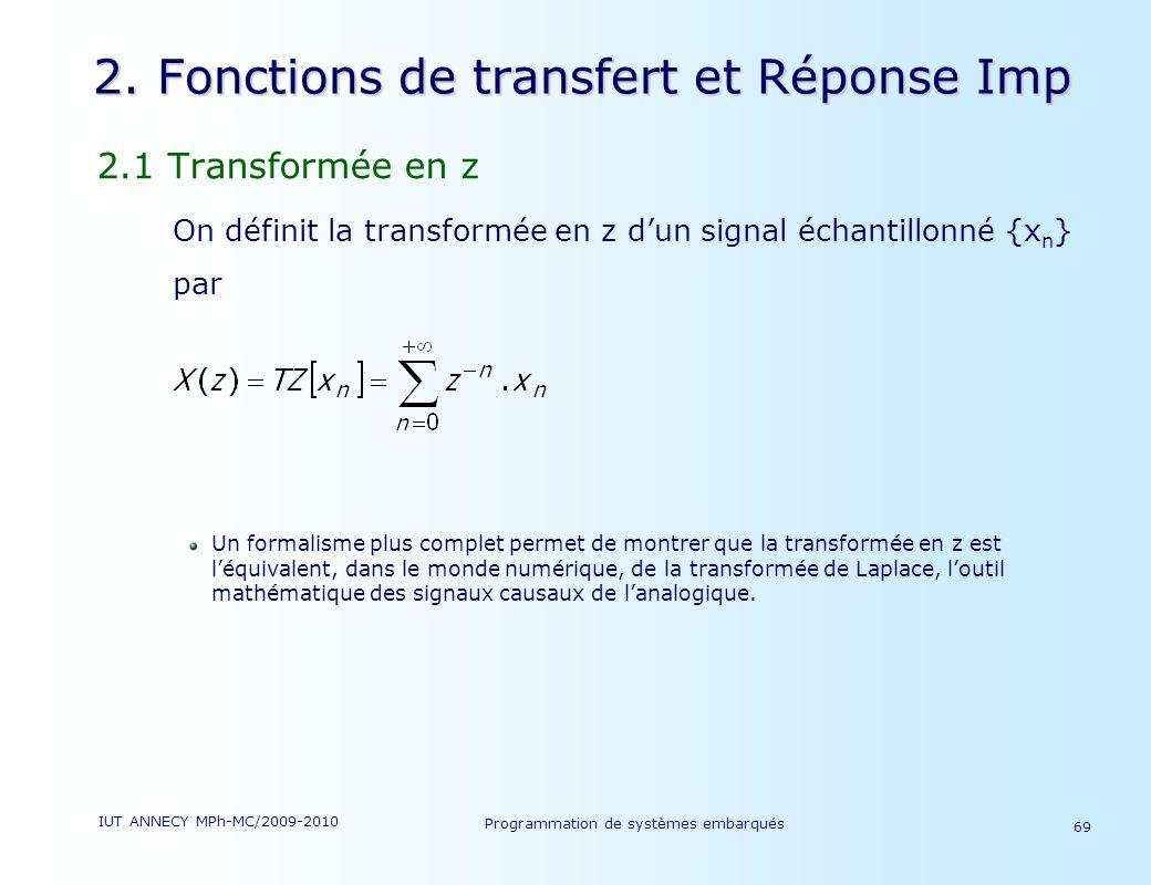 2. Fonctions de transfert et Réponse Imp