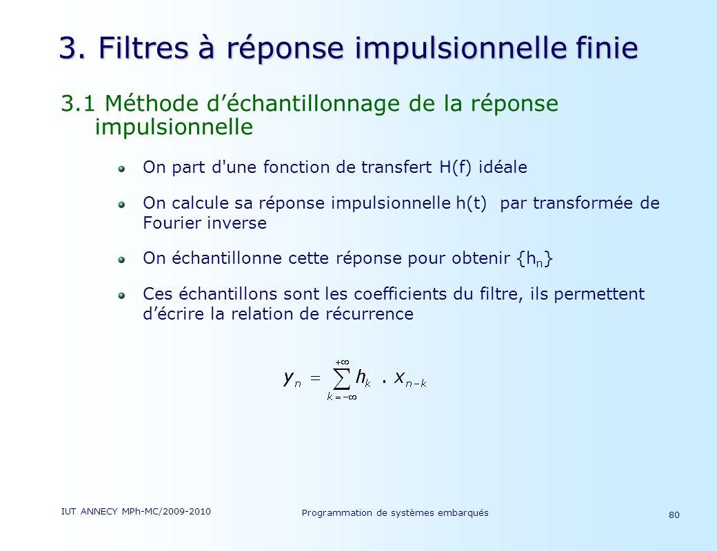 3. Filtres à réponse impulsionnelle finie