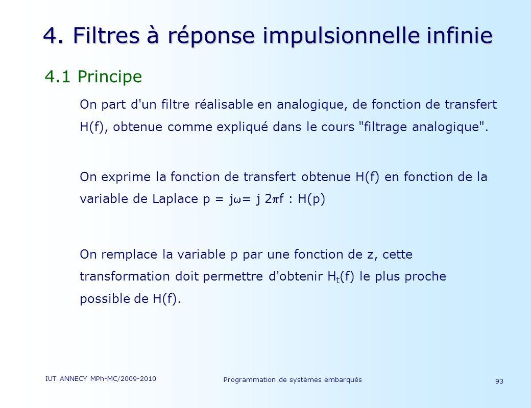 4. Filtres à réponse impulsionnelle infinie