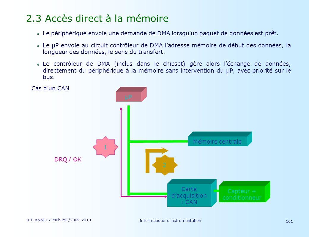 2.3 Accès direct à la mémoire