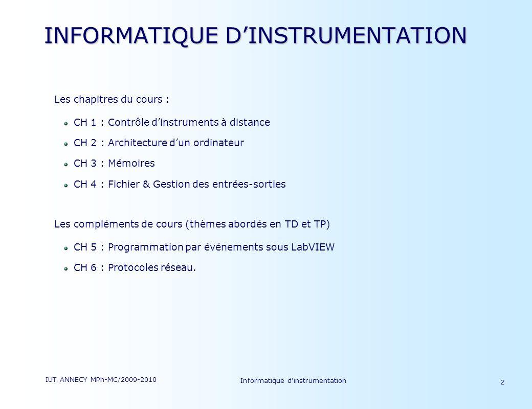 INFORMATIQUE D'INSTRUMENTATION