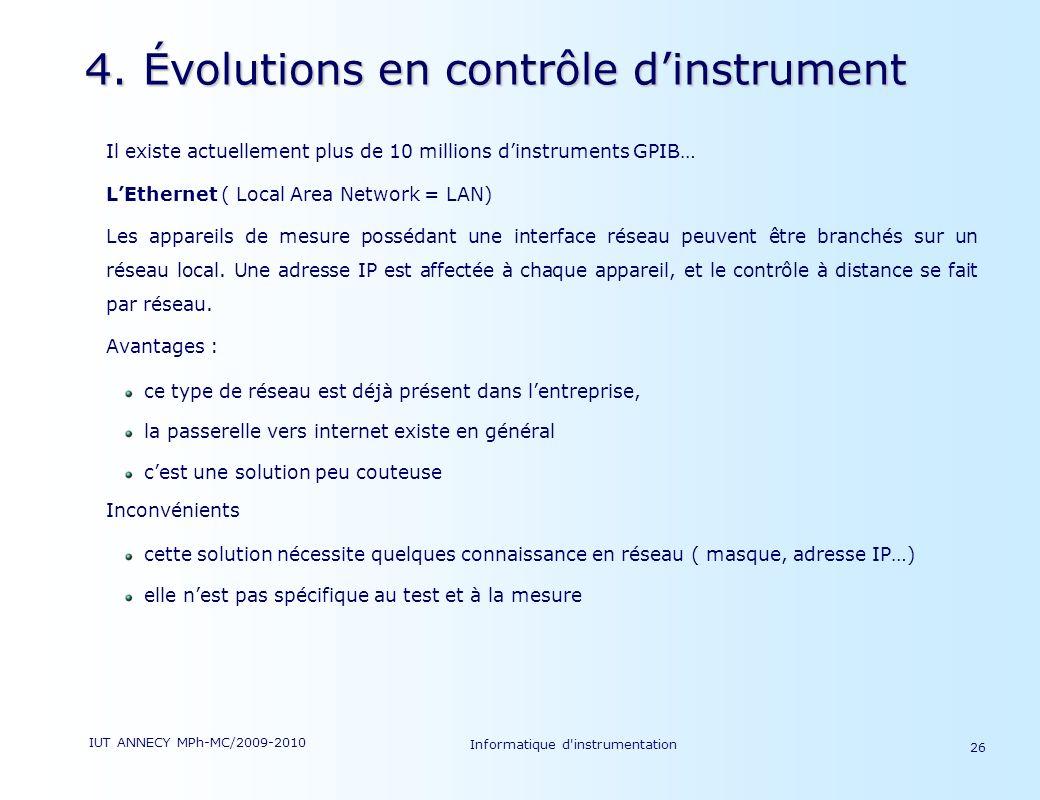 4. Évolutions en contrôle d'instrument