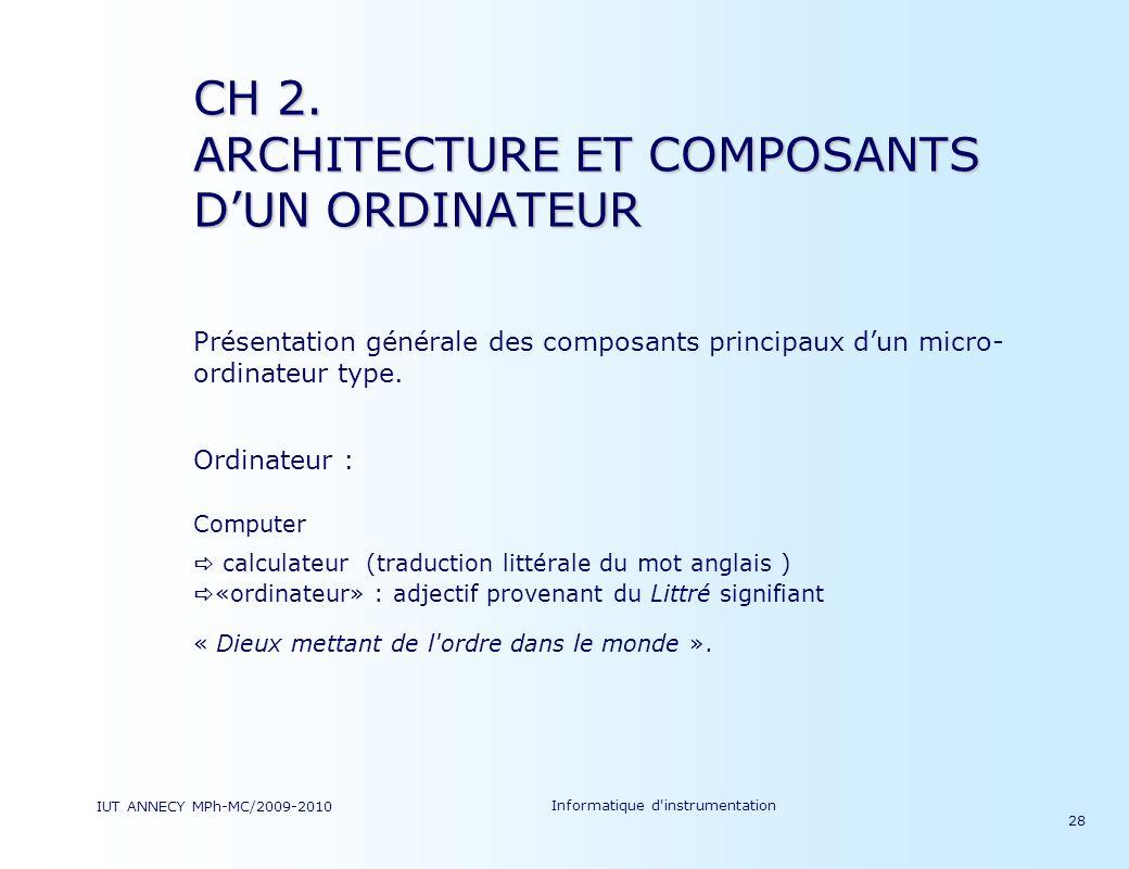 CH 2. ARCHITECTURE ET COMPOSANTS D'UN ORDINATEUR