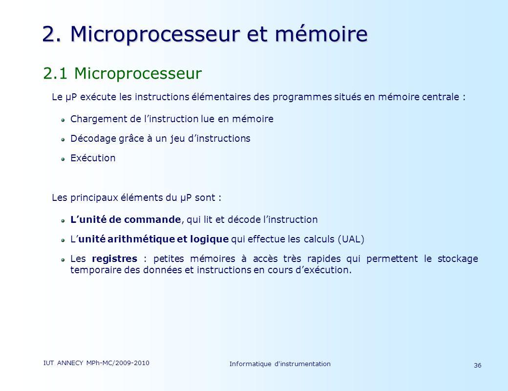 2. Microprocesseur et mémoire